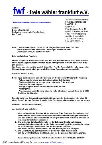 Leserbrief zur Bushaltestelle Marktplatz - Freie Wähler Frankfurt