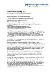 Neujahrsrede von Dr. Reiner Brüggestrat ... - Hamburger Volksbank