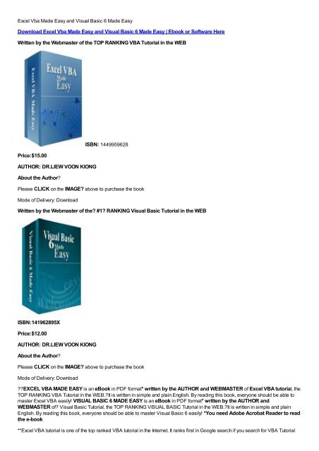 Download Excel Vba Made Easy and Visual Basic 6 Made Easy