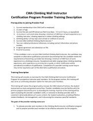 CWA Climbing Wall Instructor Certification Program Provider ...