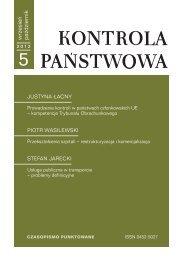 """""""Kontrola Państwowa"""" nr 5/2012 - Najwyższa Izba Kontroli"""