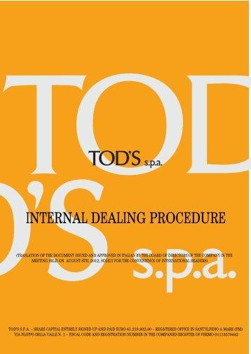 INTERNAL DEALING PROCEDURE - Tod's