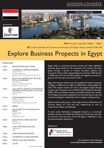 Explore Business Propects in Egypt - London Chamber of ...