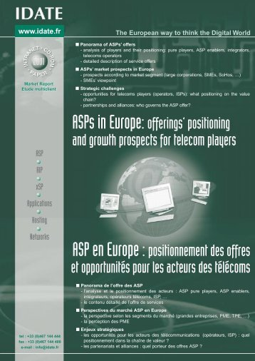 ASPs in Europe: offerings' positioning and growth prospects for ...