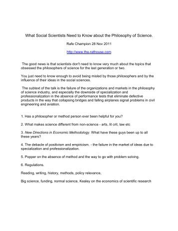 What Social Scientists Need to Know about the Philosophy of Science.
