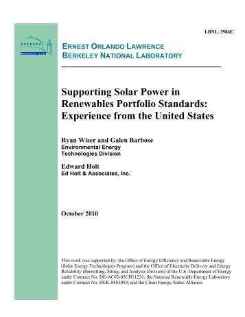Supporting Solar Power in Renewables Portfolio Standards ...