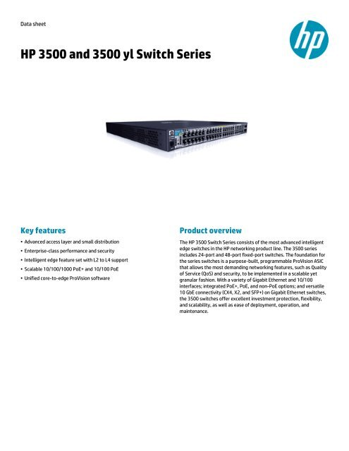 HP 3500 and 3500 yl Switch Series data sheet - US     - BCDVideo