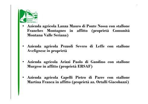 Razze stalloni - Comunità Montana Valle Seriana