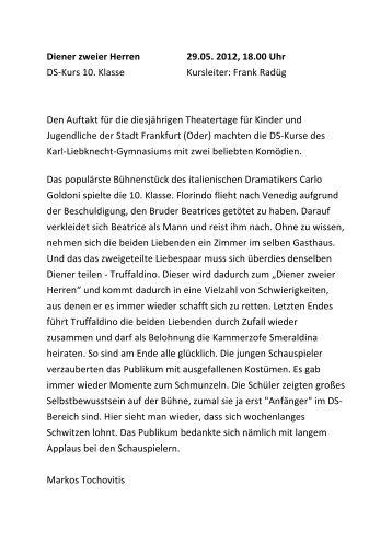 Diener zweier Herren 29.05. 2012, 18.00 Uhr DS-‐Kurs 10. Klasse