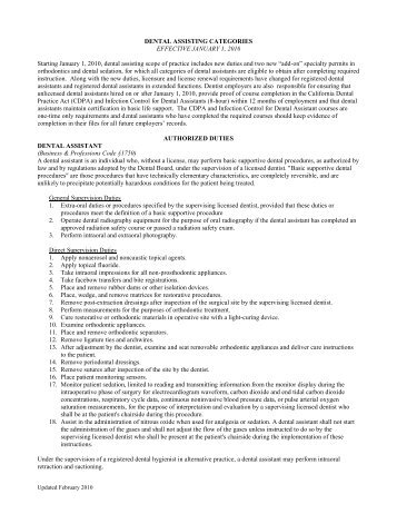 DENTAL ASSISTING CATEGORIES EFFECTIVE JANUARY 1, 2010 ...