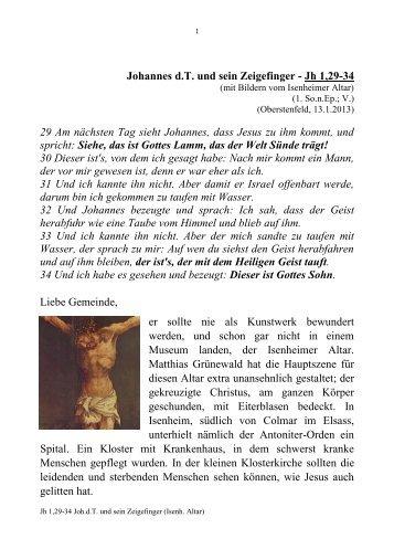 Johannes der Täufer und sein Zeigefinger - Oberstenfeld