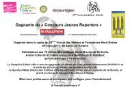 Gagnants du « Concours Jeunes Reporters » - Drôme des collines