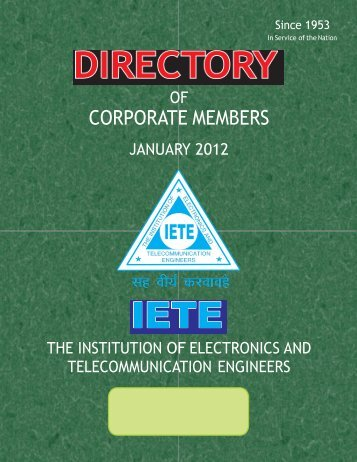 Directory of Corporate Members January 2012 - IETE