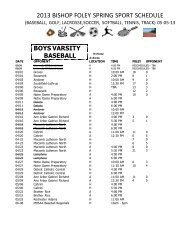 Schedule - Bishop Foley Catholic High School