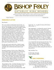 principal's letter early dismissal - Bishop Foley Catholic High School
