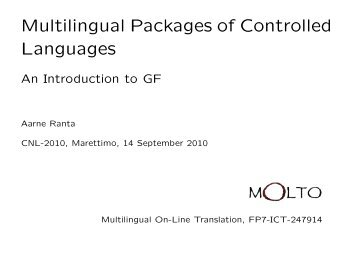 Multilingual Controlled Language Packages