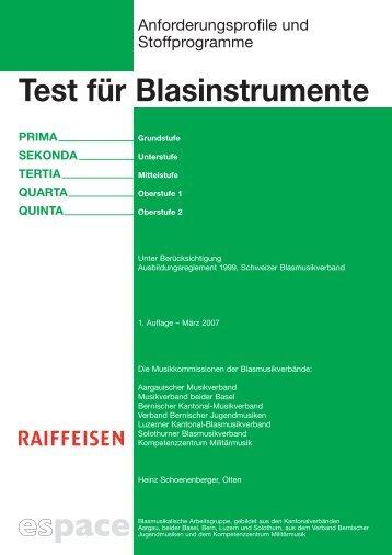 Test für Blasinstrumente (PDF) - Schweizer Blasmusikverband SBV