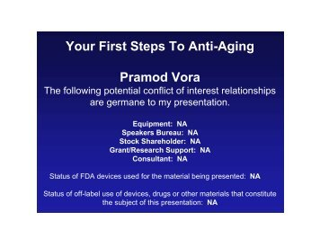 Your First Steps To Anti-Aging Pramod Vora - Space-Age.com