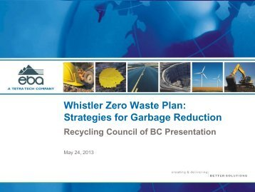 Whistler Zero Waste Plan: Strategies for Garbage Reduction