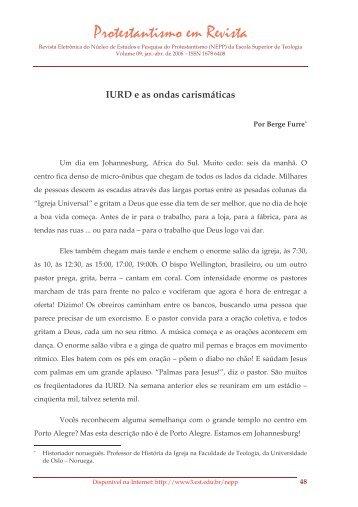 IURD e as ondas carismáticas - Faculdades EST