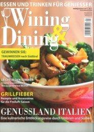 Artikel in der deutschen Zeitschrift Wining & Dining ... - mgm.bz.it