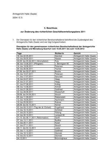 Amtsgericht Halle (Saale) 3204 I E 5 5. Beschluss zur Änderung des ...