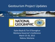 Geotourism & Co-Op Survey Results - Montana Office of Tourism