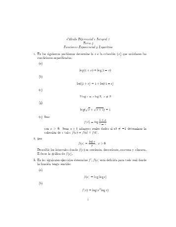C alculo Diferencial e Integral 2 Tarea 3 Funciones ... - ITAM