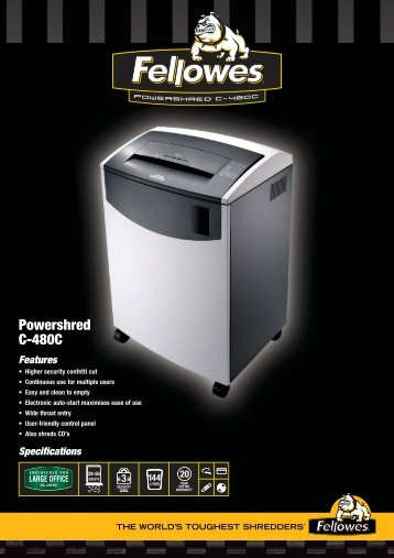 C-480C Shredder Sell Sheets UK - The Fax Shop
