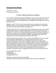 Suggested News Release - St. Mary's High School