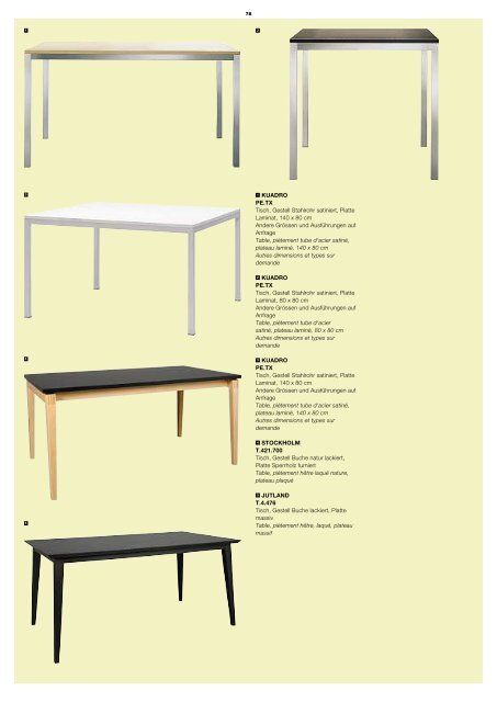 1 kuaDro pe.Tx Tisch, Gestell Stahlrohr satiniert, Platte ...