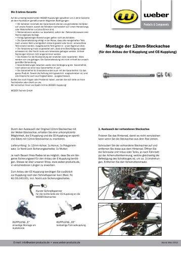 Montage der 12mm-Steckachse - Weber Products
