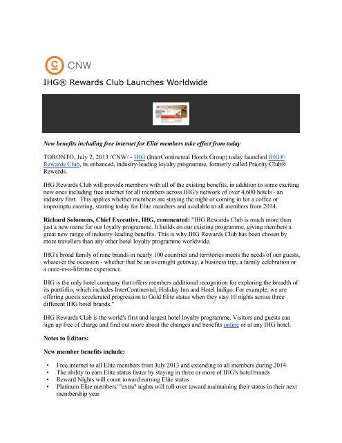 IHG® Rewards Club Launches Worldwide - Eastern Hotelier