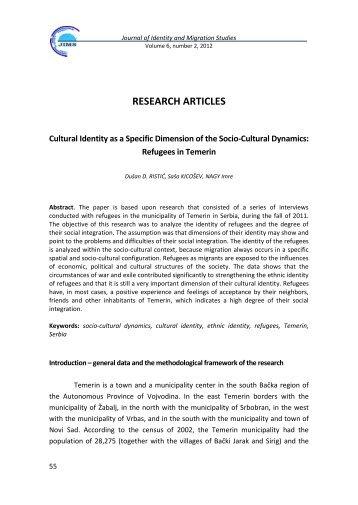Cultural Identity as a Specific Dimension of the Socio-Cultural ...