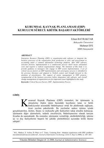 (erp) kurulum süreci - Yönetim Bilimleri Dergisi
