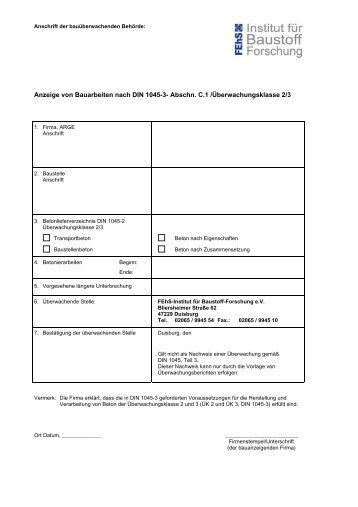 Anzeige von Bauarbeiten nach DIN 1045-3- Abschn. C.1 ... - FEhS