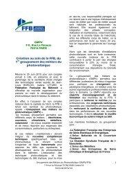Création au sein de la FFB, du 1er groupement des métiers du ...