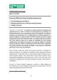 Communiqué de presse Exercice 2002 du Groupe Vaudoise ...