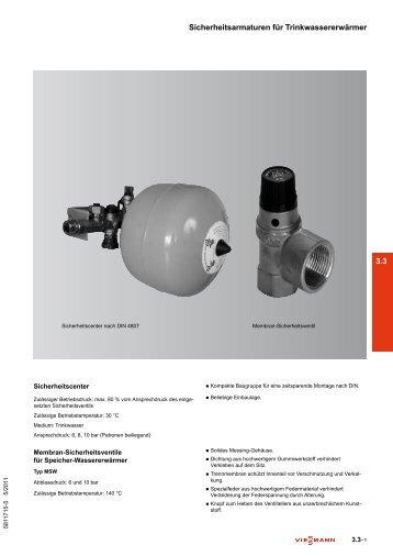 3.3 Sicherheitsarmaturen für Trinkwassererwärmer