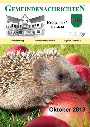 Gemeindezeitung Oktober 2013 - Gemeinde Krottendorf-Gaisfeld