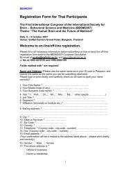 Registration Form for Thai Participants