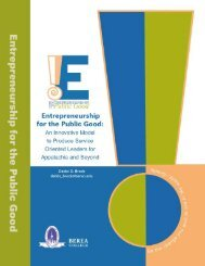 Entrepreneurship for the Public Good: An Innovative ... - Berea College