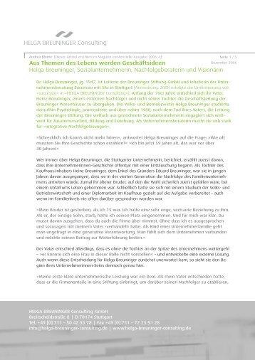Magazin existenzielle Ausgabe 2006-4 - Helga Breuninger Consulting