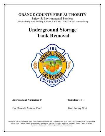 Underground Storage Tank Removal - Orange County Fire Authority