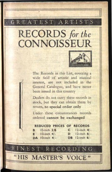 His Master's Voice Records for the Conosseur Catalogue