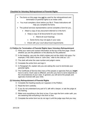 Voluntary Termination of Parental Rights and ... - Marketplace