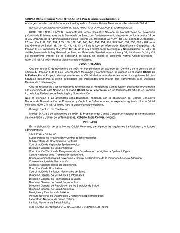 NORMA Oficial Mexicana NOM-017-SSA2-1994, Para la vigilancia ep