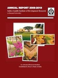 IGIDR Annual Report 2009-2010 - Indira Gandhi Institute of ...