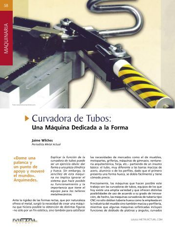 Curvadora de Tubos - Revista Metal Actual