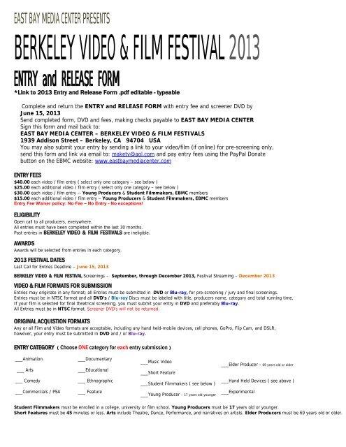 2013 Pdf Editable Form Test Berkeley Video And Film Festival